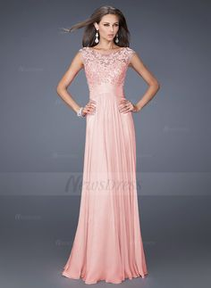 A-Line/Princess Scoop Neck Floor-Length Lace Appliques Lace Chiffon Zipper Up Cap Straps Sleeveless No 2015 Black Burgundy Sky Blue Royal Blue Pearl Pink Spring Summer General Mother of the Bride Dress