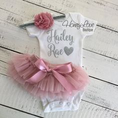 PERSONALIZED SET silver glitter shirt bodysuit, dusty rose vintage pink ruffle tutu skirt bloomers, flower headband newborn baby girl outfit coming home take home hospital outfit  by HoneyLoveBoutique on Etsy