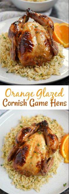 Orange Glazed Cornish Game Hens is part of Contest Winning Orange Glazed Cornish Hens Recipe Taste Of Home - Jazz up date night with these delicious Orange Glazed Cornish Game Hens served on a bed of Rice Pilaf, for a fancy yet easy to prepare meal Glazed Cornish Hen Recipe, Baked Cornish Hens, Cooking Cornish Hens, Cornish Game Hen, Cornish Hen Recipe With Orange Marmalade, Cornish Hen Wild Rice Recipe, Easter Dinner Recipes, Best Chicken Recipes, Turkey Recipes