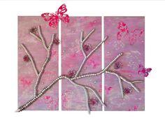 Mixed Media Triptychon Kirschblütensommer Metall von metallmorphose