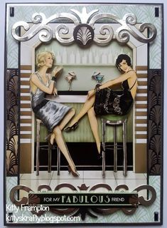 Hello Readers :) I am back as promised with my second Art Deco card that i made for Making Cards Magazine . It was featured in last month. Handmade Birthday Cards, Greeting Cards Handmade, Kanban Cards, Art Nouveau, Decoupage, Art Deco Cards, Art Deco Paintings, Estilo Pin Up, Card Making Inspiration
