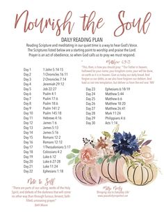 Nourish your Soul through this 30 day study of the Scriptures. The Scriptures are a starting point to worship and praise the Lord. Prayer is an act of obedience, so when God calls us to pray we must respond. Bible Study Plans, Bible Study Guide, Bible Plan, Bible Study Journal, Prayer Scriptures, Bible Prayers, Bible Verses, Scripture Reading, Scripture Study