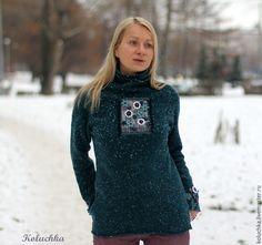 Купить Не грусти))) (Изумрудный) - зимняя мода 2016, вязаный свитер, теплая одежда