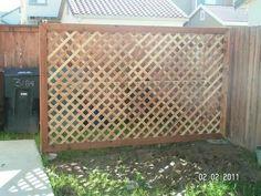 Custom lattice wall More Lattice Privacy Fence, Patio Privacy Screen, Lattice Wall, Privacy Fence Designs, Patio Fence, Outdoor Privacy, Privacy Walls, Backyard Privacy, Privacy Screens