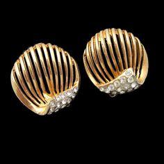 Classy #MidCentury Rose Gold Plated #Rhinestones #Earrings Wedding Jewelry #SomethingOld from #MyClassicJewelry