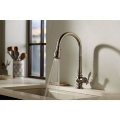 KOHLER Artifacts Single Handle Pull-Down Sprayer Kitchen Faucet in Vibrant Stainless-K-99259-VS - The Home Depot