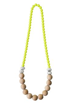 Design Project: Yellow, Wooden BeCharmed Necklace