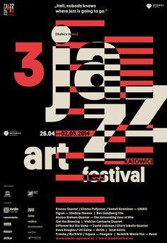 // 3 Jazz Art Festival Katowice By Marta Gawin. Photo by Barbara Kubska Graphic Design Posters, Modern Graphic Design, Graphic Design Typography, Graphic Design Illustration, Graphic Design Inspiration, Geometric Graphic, Poster Designs, Layout Inspiration, Jazz Festival