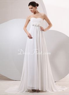 Empire Sweetheart Sweep Train Chiffon Wedding Dress With Ruffle (002014042) - DressFirst en