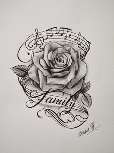 rose music notes and the word family win tattoos tattoo designs - rose tattoo drawing Music Tattoo Designs, Music Tattoos, Body Art Tattoos, Sleeve Tattoos, Tattoo Ribs, Skull Tattoos, Sheet Music Tattoo, Music Tattoo Sleeves, Tattoo Wolf