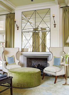 wonderful mirror, fab wing chairs, great ottoman color  Verdigris Vie: Classic Comfort