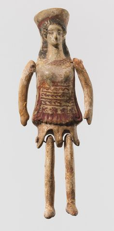 Terracotta figurine with articulated arms and legs, early 5th centuryB.C.Greek, Corinthian