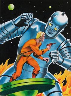 I love this kind of old sci-fi pulp fiction cover. Comics Vintage, Vintage Robots, Retro Robot, Science Fiction Art, Science Art, Pulp Fiction, Mystery Science, Trippy, Pub Vintage