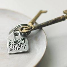 Binary Message Keyring// cute// present// unusual//