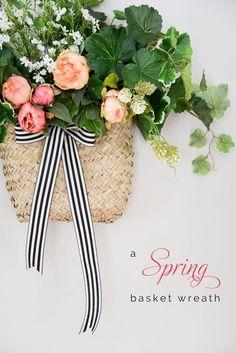 spring wreath basket, hanging basket wreath, spring wreath