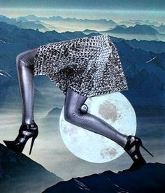 Opus 193, Collage by Lopéz García  FULL MOON - night out! Get mi higher - she said. So I did.  Paper on paper 26 x 30 cm