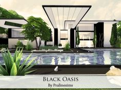 Black Oasis house by Pralinesims at TSR via Sims 4 Updates