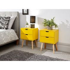 Kiana 2 Drawer Bedside Table Norden Home Colour: Yellow Yellow Nightstand, 3 Drawer Bedside Table, Bedside Chest, Mustard Bedding, Round Side Table, Hazelwood Home, Küchen Design, Lamp Design, Bedroom Ideas