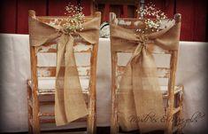 Burlap Chair Sashes, Rustic Wedding Decor - via Etsy. On Your Wedding Day, Fall Wedding, Dream Wedding, Wedding Ideas, Wedding Photos, Wedding Chair Decorations, Wedding Chairs, Hessian Wedding, Rustic Wedding