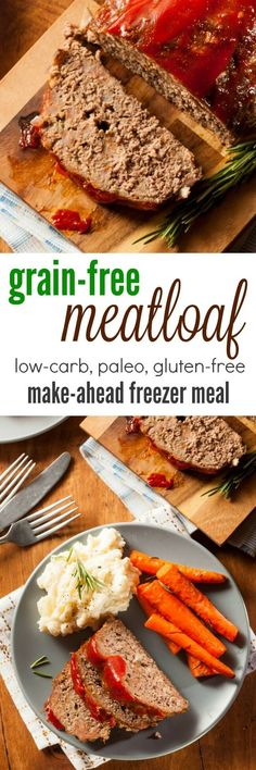 Meatloaf is an American classic - and it's a simple make ahead freezer meal. This grain free meatloaf recipe is great for Paleo, gluten free, or other low-carb plans.
