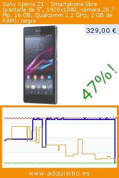 """Sony Xperia Z1 - Smartphone libre (pantalla de 5"""", 1920x1080, cámara 20.7 Mp, 16 GB, Qualcomm 2.2 GHz, 2 GB de RAM), negro (Electrónica). Baja 47%! Precio actual 329,00 €, el precio anterior fue de 624,15 €. https://www.adquisitio.es/sony/xperia-z1-smartphone-0"""