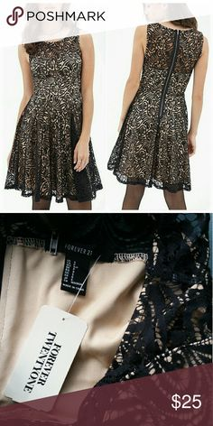 """Forever 21 Black Lace Over Taupe A-Line Dress Sz S Black lace over taupe, A-line dress. Approximately 34"""" length from neck to hem, measured from back. Forever 21 Dresses"""