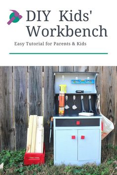 DIY kids' workbench tutorial. Easy how-to guide for making your own workbench for your playroom. Must have toy for your playroom. #DIY