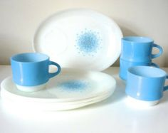 1960s ANCHOR HOCKING Fire King Made in USA Set of two Blue Mosaic milk glass Dinner Plates