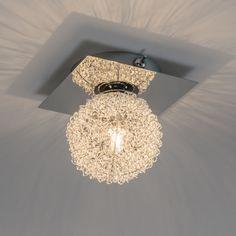 Wand-/Deckenleuchte Fuzzle 1 chrom: Diese besondere Wand-/Deckenleuchte besteht aus einer Chromplatte, auf der eine Lampenfassung befestigt ist. Ein modernes Stilelement, das direkt auffällt, ist die aus Aluminiumdrähten geformte Kugel um das Leuchtmittel herum. Dadurch entsteht ein schöner Lichteffekt an der Wand oder Decke. #deckenleuchte #lichteffekt #innenbeleuchtung