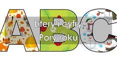Litery i cyfry z motywami na pory roku do tworzenia napisów do druku. Wysokiej jakości grafimi tematyczne do tworzenia napisów. EduZabawy Symbols, Letters, Icons, Fonts, Letter