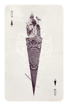 wonderland >>>cards >>> Queen of Spades by Anna Pietrzak, via Behance