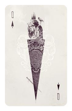 wonderland >>>cards >>> Queen of Spades by Anna Pietrzak, via Behance