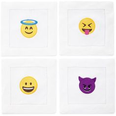 Horchow Emoji Naughty or Nice Cocktail Napkins ($48) ❤ liked on Polyvore featuring home, kitchen & dining, table linens, white beverage napkins, white linen cocktail napkins, white cocktail napkins, embroidered table linens and linen cocktail napkins