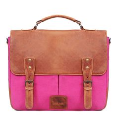 ff5dc77cf44c Pink Canvas Tan leather Briefcase by BRUNE