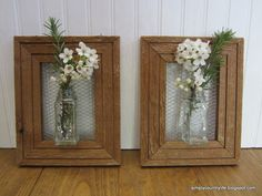 Inexpensive wood frames + repurposed spice jars = dainty wall vases.