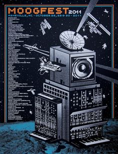 Moogfest2011 festival poster created by Status Serigraph features a building in outer space constructed from synthesizermoduleswith various astronauts and s