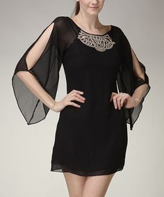Black Bead Sheer-Sleeve Dress | Love the front and sleeves, hate the back though :(