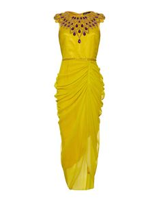 Yellow midi dress with purple stone detail....in love!