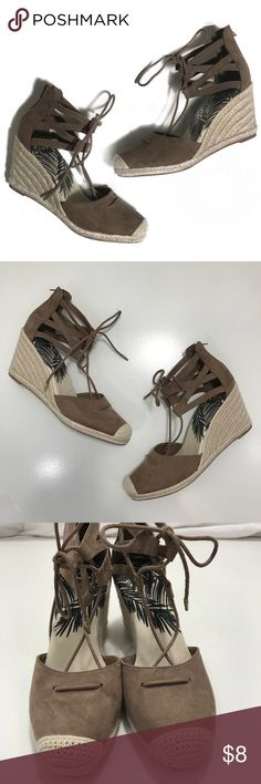 Dolce Vita Espadrille Wedges • Brown faux suede heeled espadrilles with lace detailing. These are in great condition and don't show any signs of wear. DV by Dolce Vita Shoes Espadrilles