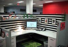 nice cubicle decor ideas black white stripes framed photos small plants