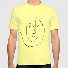 Abstract Face One Line Art Graphic T-shirt by Theredfinchprint - Lemon - SMALL - Mens Fitted Tee Abstract Faces, Line Art, Cool Designs, Lemon, Medium, Tees, Mens Tops, T Shirt, Inspiration