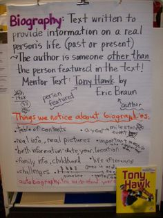 Biography anchor charts and intro ideas.
