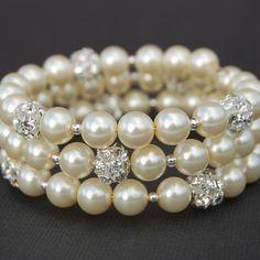 Wedding Ivory Pearl Rhinestone Memory Wire Bracelet, Bridesmaid Jewelry. $23.00, via Etsy.