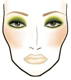 MAC makeup face chart. Greens