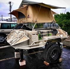 20 Off-Road Camping Trailers Perfect For Your Jeep - decoratoo Jeep Camping, Off Road Camping, Camping Survival, Expedition Trailer, Overland Trailer, Ford Expedition, Off Road Camper Trailer, Camper Trailers, Teardrop Trailer