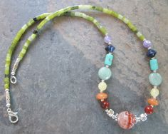 Chakra Necklace ~ Gemstones to represent the 7 main Chakras - Fire Agate - Spiritual Jewelry by PumpkinHollowCreatns on Etsy