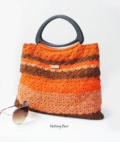 Crochet Handbag, FREE EARRINGS / Handbag / Summer Spring Handbag /Black Triangle Handles / Burn Orange / Brown / Orange / Bag And Purses on Etsy, £59.00