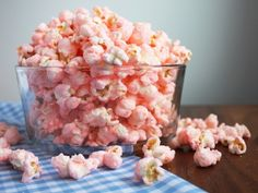 Old Fashioned Pink Popcorn 2/3 cup popcorn kernels, popped 2 cups granulated sugar 2/3 cup half and half 1 Tbsp light corn syrup 1/4 tsp salt 1 tsp vanilla 6 drops red food coloring (or any other color you'd like)