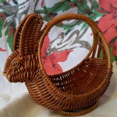 Wicker bunny rabbit basket number 1 #wickeranimalbaskets collection of Amie M Blasi Springfield Illinois