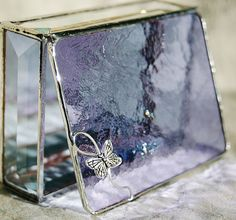 Stained Glass Box Lavender Purple with Pewter Butterfly